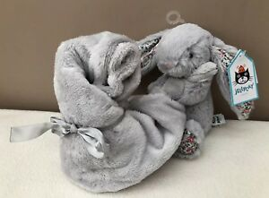 NEW-Jellycat-Blossom-Silver-Bashful-Bunny-Soother-Comforter-Soft-Toy-Baby-Grey