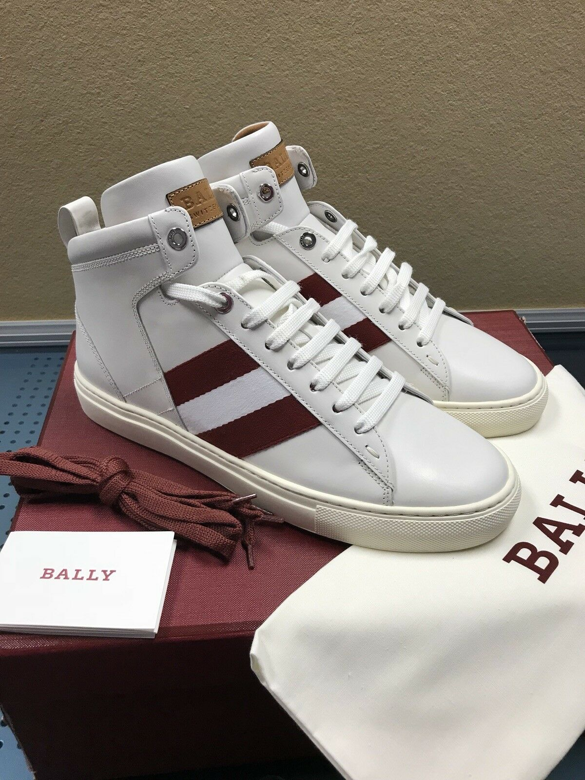 b8a448413559 Bally Men s Hedern Trainspotting Stripe Mid-Top Sneakers White       Red  Size 8