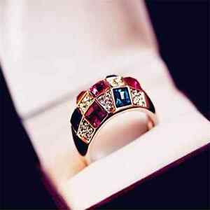 Fashion-Women-Wedding-Jewelry-Colourful-Rhinestone-Crystal-Gold-Finger-Ring-Gift