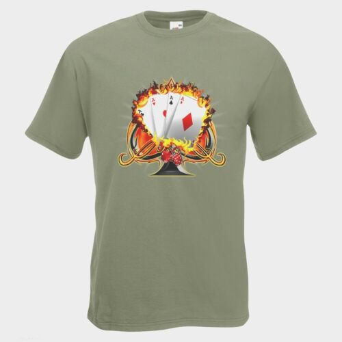 Aces Cards Mens PRINTED T-SHIRT Dice Fire Card Set