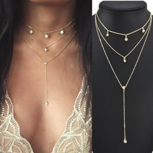Fashion-Multilayer-Choker-Crystal-Star-Chain-Gold-Necklace-Women-Summer-Jewelry