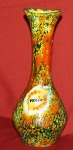 Vintage European Hand Painted Floral Ceramic Pottery Vase Signed