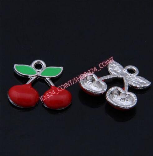 20pc Charms cherry Pendant Beads Necklace Jewellery Making Enamel P1435B
