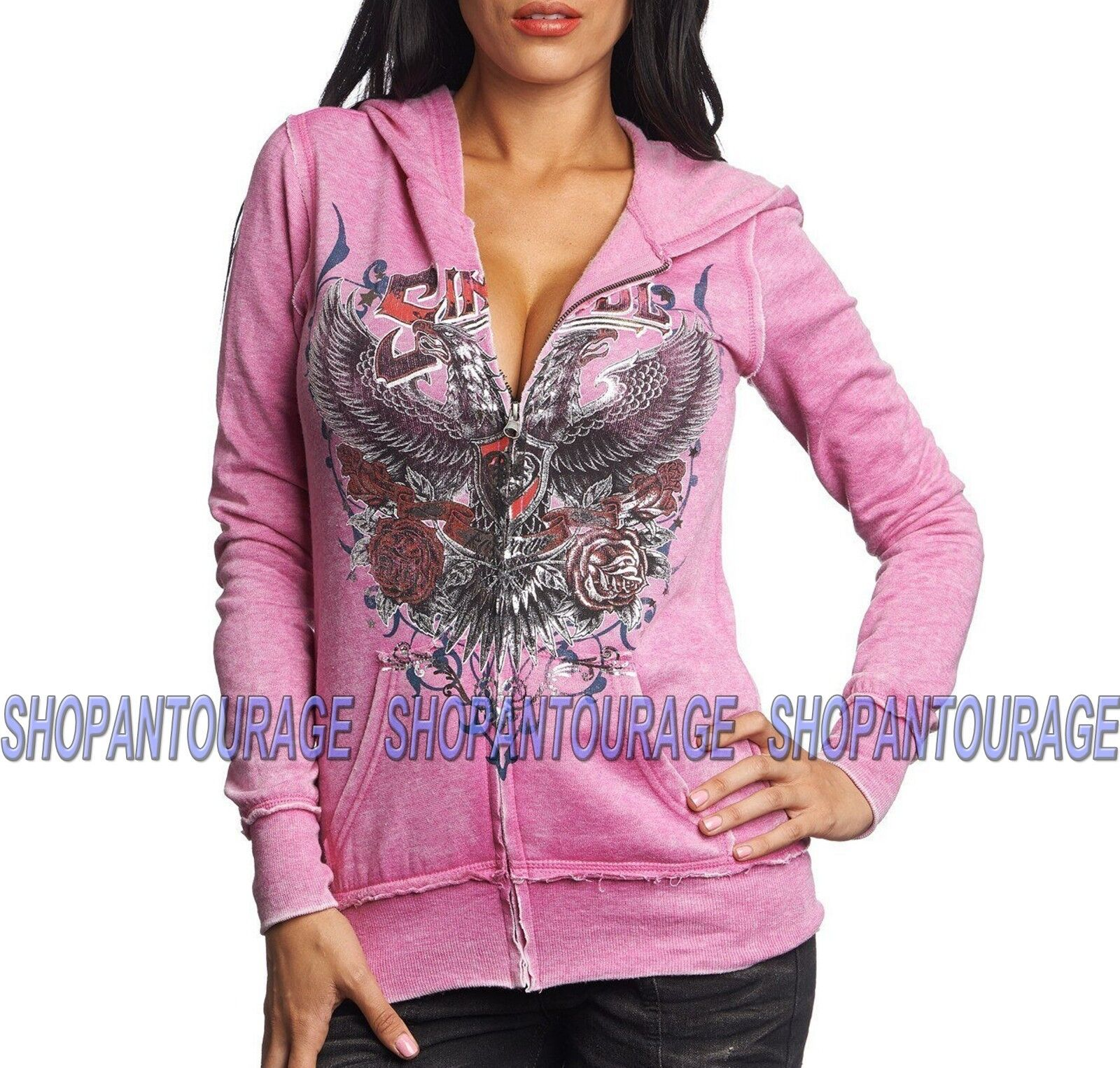 Sinful In Memory S3331 damen`s Long Sleeve Graphic Zip Hood Jacket By Affliction