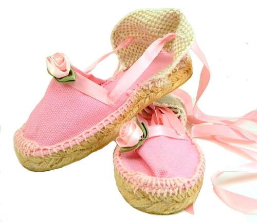 Toddler Girls European Pink Espadrilles w Rose Ribbons DE OSU E-11 Size 7-10