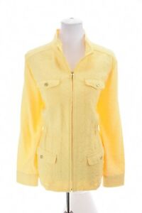 Christopher & Banks Brocade Jacquard Zip Up Jacket Stretch Yellow Sz Large