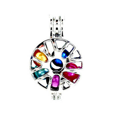 5PCS-L615 Beads Cage Record Diffuser Locket Light Silver Charm