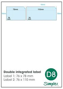 1000-x-A4-EBay-SM-amp-SMP-Double-Integrated-Label-stickers-D8-Matt-Finish