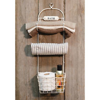 Shabby Primitive Farmhouse Chic Cream Bath Towel Rack Wall Basket Hooks