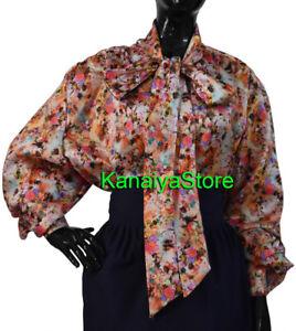 High Neck Bluse Oben Gedruckt Frauen New Langarm Satin stil Shirt Bogen Vintage wzUw8qZxA