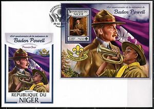 NIGER 2017 BADEN POWELL SCOUT ALWAYS READY SOUVENIR SHEET FIRST DAY COVER