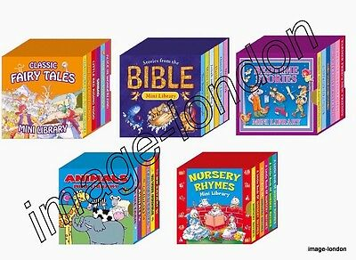 Mini Library Set of Classic Collection Board Books- Animals, Nursery Rhymes