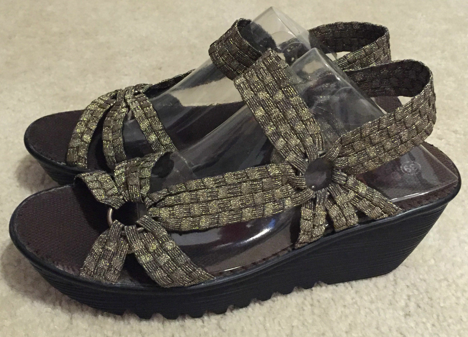 Bernie Mev Crystal Women's Casual Wedge Open Toe shoes Sandals 9