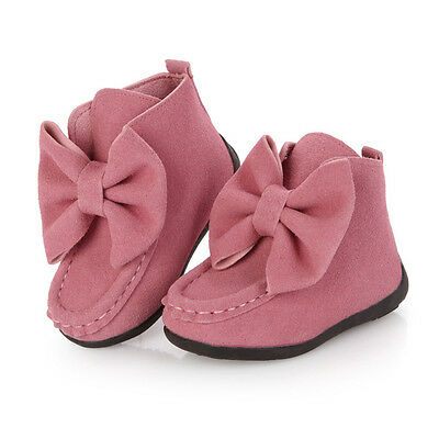 Autumn Fall Girls Kids Bowknot Princess Soft Warm Ankle Boots Slip on Flat Shoes