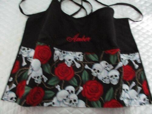 Skull and Roses Server Waitress Waist Apron  Novelty Name FREE Lady Pizazz