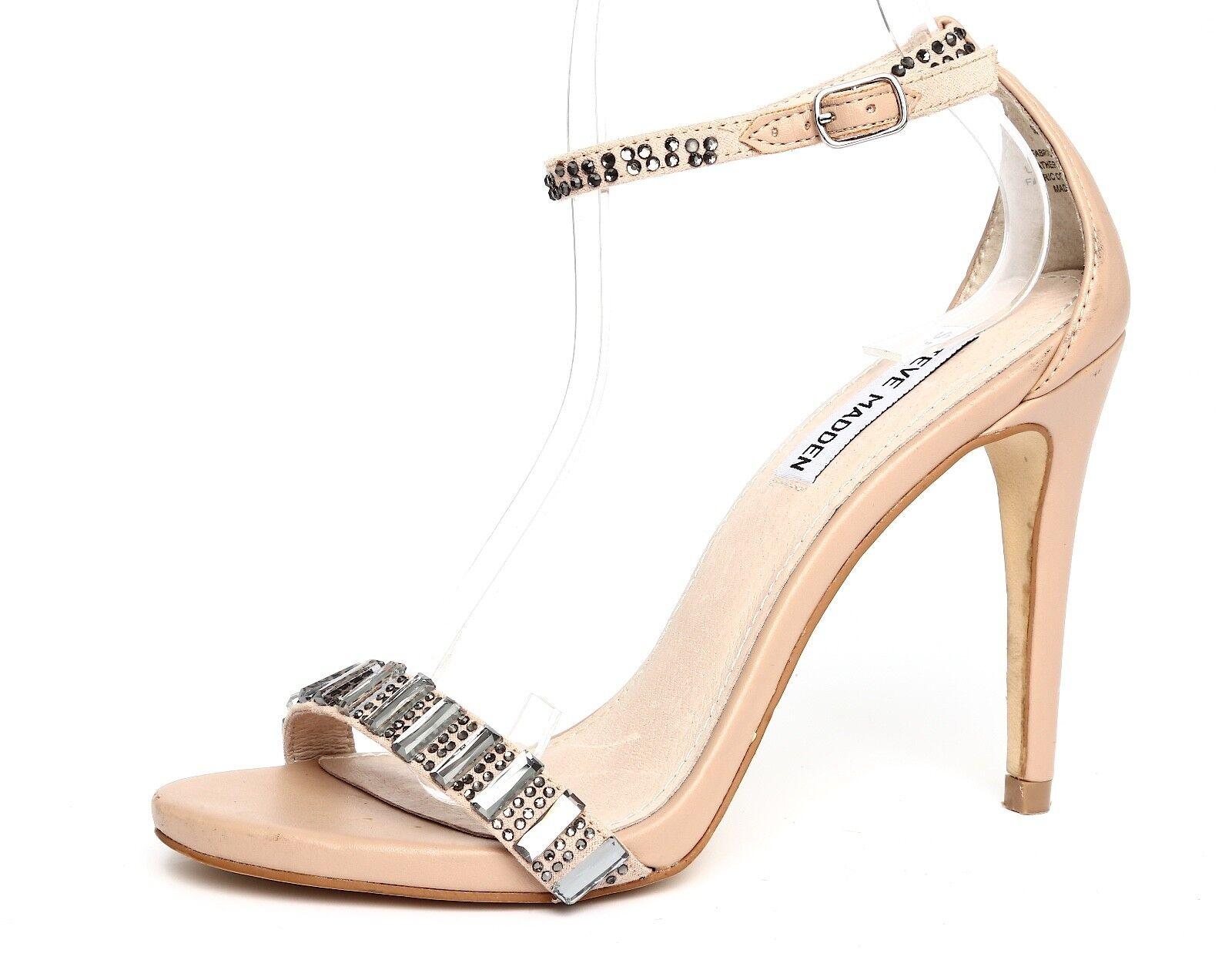 Steve Madden Womens Suzzana Beige Ankle Strap Sandal Heels Sz 7M 4964