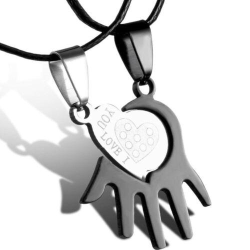 Collana doppio ciondolo Heart Hand pendente+laccetto cuore mano love you regalo
