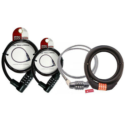 BlueSpot 4 Digit Bicycle Cycle Combination Security Spiral Steel Cable Lock