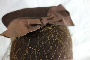 Late-1930-039-s-Brown-Felt-CLoche-w-Brown-Bow-Jauntee-Made-in-California-CHIC-SALE