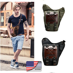 ff61835a58 Details about Men s Canvas Leather Shoulder Military Messenger Sling school  Travel Hiking Bag