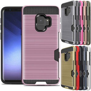 online store 5028a 3ee08 Details about For Samsung Galaxy S6 S7 S8 S9 Plus Note 8 / 5 Hybrid ID Card  Holder Case Cover