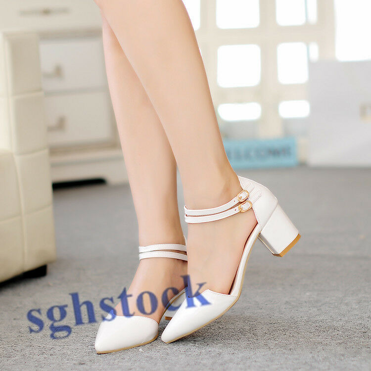 2019 Ladies Pointy Toe Ankle Strappy Chunky Buckle Pumps Kitten Heels shoes W415
