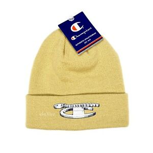 5884ee831e4 NWT Supreme NY x Champion 3D Metallic Logo Beanie Hat Cap Tan FW18 ...