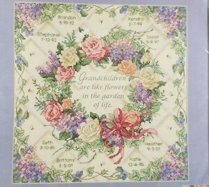 Dimensions The Flowers of Life 14x14 Stamped Counted Cross Stitch Kit~New