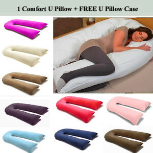 9-Ft-12-Ft-Comfort-U-Pillow-Full-Body-Maternity-Pregnancy-Support-Free-Case