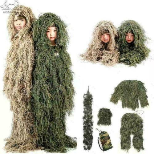 Kids Children Woodland Tactical Uniform Army Clothing Ghillie Suit Geely NWLF