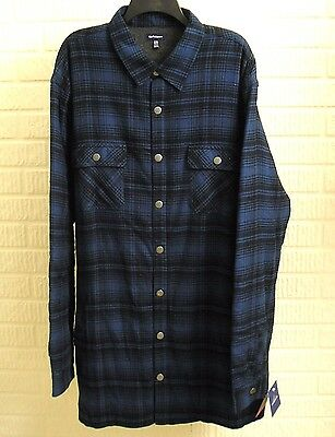 Mens Flannel Shirt Jacket Sz 2XLT Tall Blue Plaid Fleece Lined Classic Fit NWT