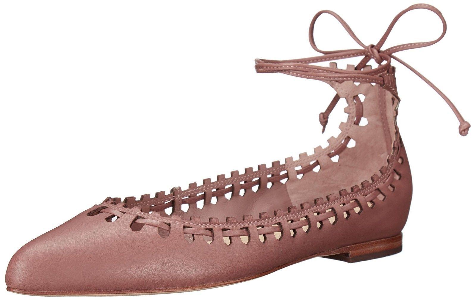 $195 size 9 Via Spiga Sammy Rose Leather Ballet Flats Ankle Strap Womens Shoes