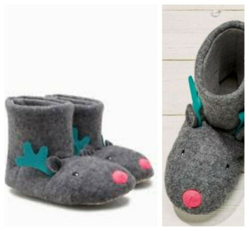 Next Christmas Slippers Reindeer Xmas Ladies Womens Boots Size S M 3-4-5 BNWT