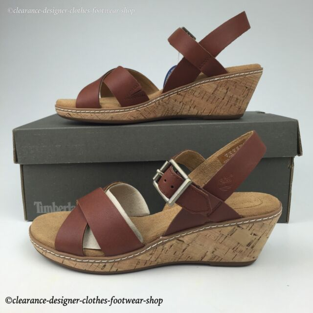 TIMBERLAND WHITTIER SANDALS WOMENS ANKLE STRAP HEEL BROWN LEATHER SHOES RRP £85