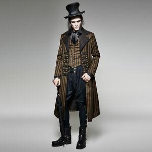 Punk-Rave-Gothic-Steampunk-Victorian-Wedding-Vintage-Striped-Jacket-Coat