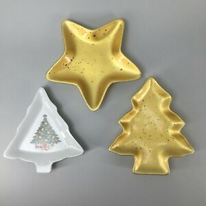 Set-of-3-Vintage-Christmas-Tree-and-Gold-Star-Plates-Excellent-Used-Condition