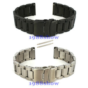 New-20-22-24-mm-Heavy-Brushed-Double-Lock-Clasp-Stainless-Watch-Band-Bracelet