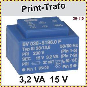 Print-Trafo-EI-38-13-6-3-2-VA-15V