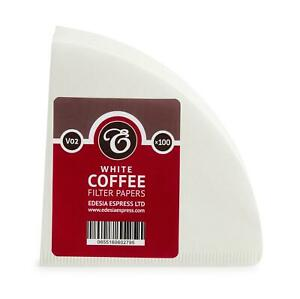 100 size V02 white coffee filter papers, V shaped, compatible with Hario V60