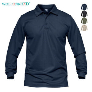Moisture-Wicking-Men-039-s-Polo-Shirts-Rugby-Golf-Tactical-Pullover-Military-Shirts