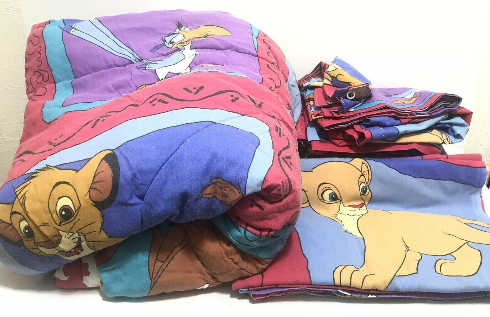 Picture of: Vintage Disney S The Lion King Twin Size Bed Set Sheets Pillow Curtains Simba For Sale Online