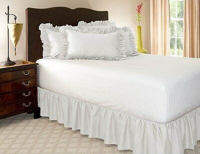 1 PIECE MICROFIBER SOLID BED RUFFLE SKIRT 14 INCH DROP SIZE FULL PURE WHITE