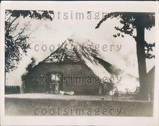 1936 Fire Burning Mecklenburg Village Warlow Germany Press Photo