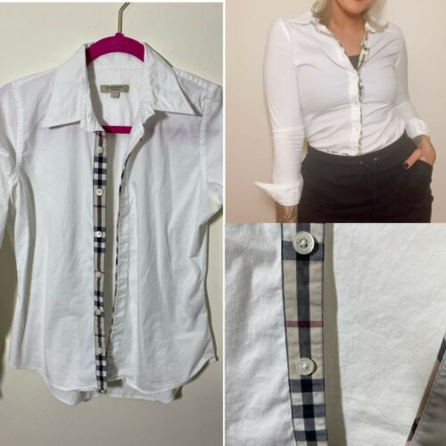 Y2k Burberry Brit Trim White Button Down Blouse Wo