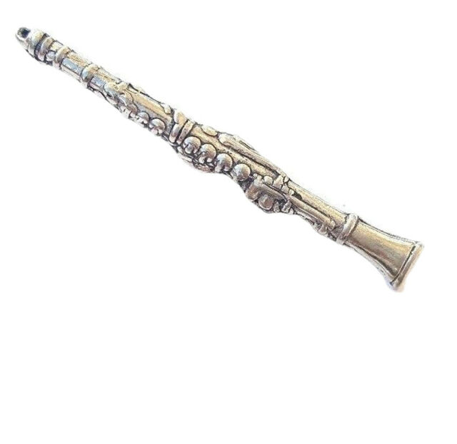 Clarinet Handcrafted in Solid Pewter in UK Lapel Pin Badge