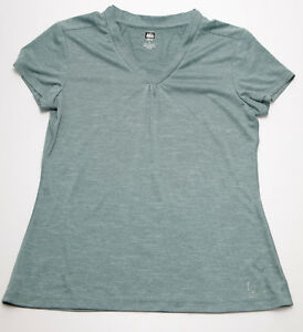 REI-Womens-Short-Sleeve-Green-V-Neck-Athletic-Shirt-Size-Small-EUC-I711L
