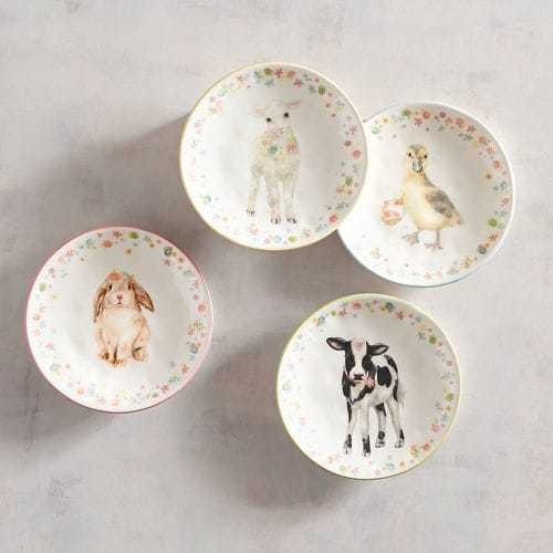 PIER1 EASTER BABY ANIMAL HAND PAINTED SALAD PLATES 6   BNWT MINT