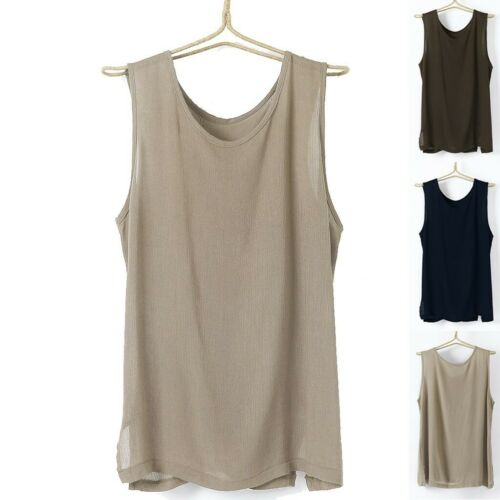 Men/'s Casual Linen Vest Loose Solid Color V-Neck Tops Short Sleeve Shirt Blouse