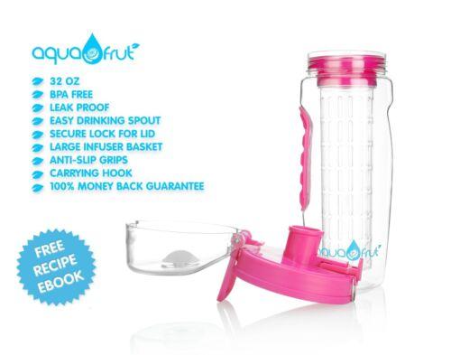 Pink AquaFrut 32oz Fruit Infuser Water Bottle USA Seller! with Bonus Brush