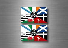 2x autocollant sticker voiture moto drapeau nations celtique celte breizh